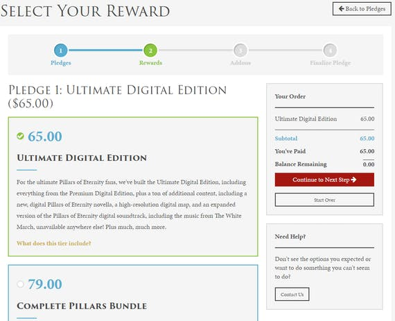 Pillars of eternity ii deadfire update 25 manage your pledge on the next page is for add ons on this page youre able to include any add ons that were offered during the fig campaign and buy extras if you want fandeluxe Choice Image